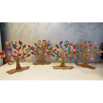 Set 10 decorazioni fiori, cuore, animaletti panno lavorato laser