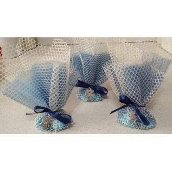 Cesto porta scatoline o sacchettini Orsetto Rosa/ Azzurro