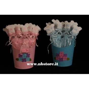 Cesto porta scatoline o sacchettini rosa/ Azzurro
